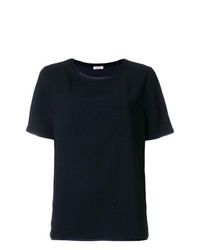 T-shirt à col rond bleu marine P.A.R.O.S.H.