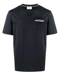 T-shirt à col rond bleu marine Salvatore Ferragamo