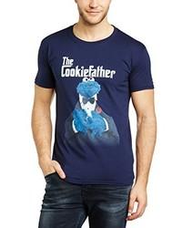 T-shirt à col rond bleu marine Sesame Street