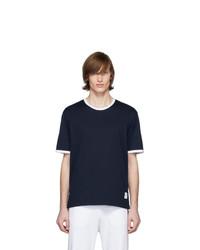 T-shirt à col rond bleu marine Thom Browne