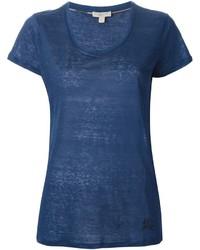 T-shirt à col rond bleu Burberry
