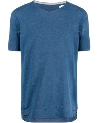 T-shirt à col rond bleu Maison Margiela