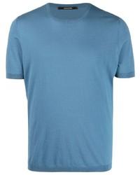 T-shirt à col rond bleu Tagliatore