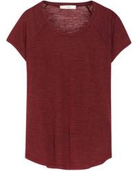 T-shirt à col rond bordeaux