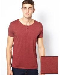 T-shirt à col rond bordeaux Asos