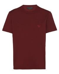 T-shirt à col rond bordeaux Prada