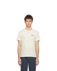 T-shirt à col rond brodé beige AMI Alexandre Mattiussi