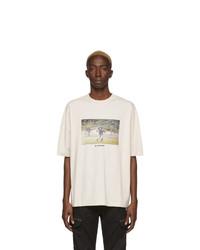 T-shirt à col rond brodé beige Marcelo Burlon County of Milan