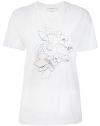 T-shirt à col rond brodé blanc