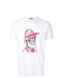 T-shirt à col rond brodé blanc Moncler