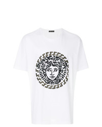 T-shirt à col rond brodé blanc Versace