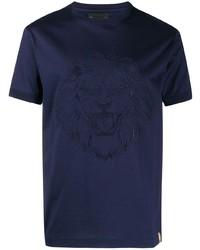 T-shirt à col rond brodé bleu marine Billionaire