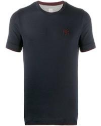 T-shirt à col rond brodé bleu marine Eleventy