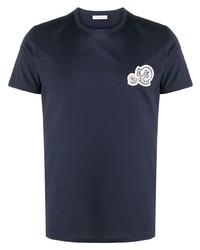 T-shirt à col rond brodé bleu marine Moncler