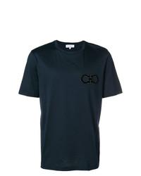 T-shirt à col rond brodé bleu marine Salvatore Ferragamo