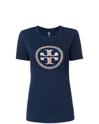 T-shirt à col rond brodé bleu marine Tory Burch
