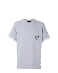 T-shirt à col rond brodé gris