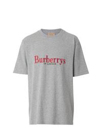 T-shirt à col rond brodé gris Burberry