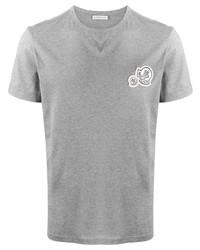 T-shirt à col rond brodé gris Moncler