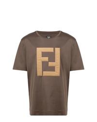 T-shirt à col rond brodé marron Fendi