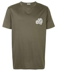 T-shirt à col rond brodé olive Moncler