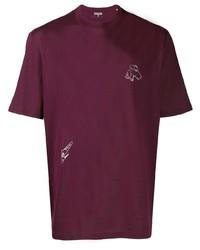 T-shirt à col rond brodé pourpre foncé Lanvin