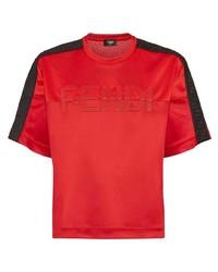 T-shirt à col rond brodé rouge Fendi