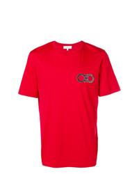 T-shirt à col rond brodé rouge Salvatore Ferragamo