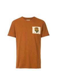 T-shirt à col rond brodé tabac Kent & Curwen