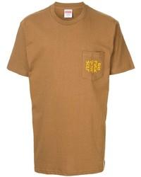 T-shirt à col rond brodé tabac Supreme