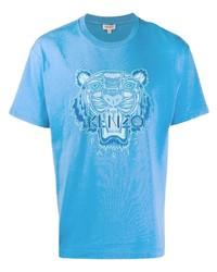 T-shirt à col rond brodé turquoise Kenzo