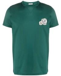 T-shirt à col rond brodé vert foncé Moncler