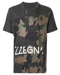 T-shirt à col rond camouflage gris foncé Ermenegildo Zegna