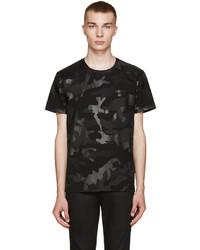 T-shirt à col rond camouflage noir Valentino