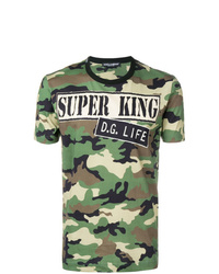 T-shirt à col rond camouflage olive Dolce & Gabbana