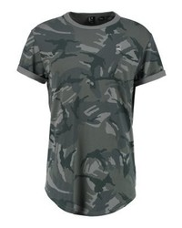 T-shirt à col rond camouflage olive