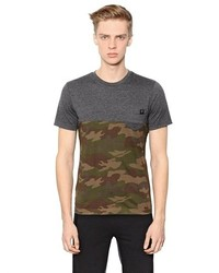 T-shirt à col rond camouflage olive Hydrogen