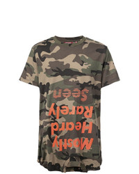 T-shirt à col rond camouflage olive Mostly Heard Rarely Seen