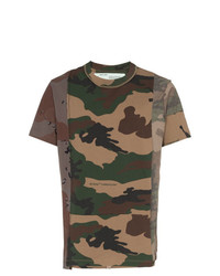 T-shirt à col rond camouflage olive Off-White