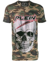 T-shirt à col rond camouflage olive Philipp Plein
