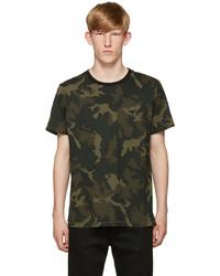 T-shirt à col rond camouflage olive rag & bone