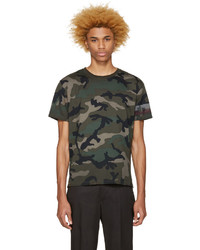 T-shirt à col rond camouflage olive Valentino