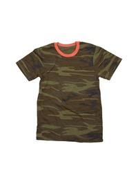 T-shirt à col rond camouflage vert foncé