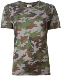 T-shirt à col rond camouflage vert foncé Saint Laurent