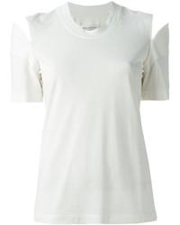 T-shirt à col rond découpé blanc