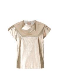 T-shirt à col rond doré Nude