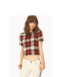 T-shirt à col rond écossais rouge