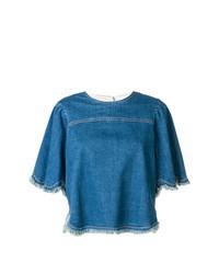 T-shirt à col rond en denim bleu See by Chloe