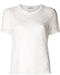 T-shirt à col rond en dentelle blanc