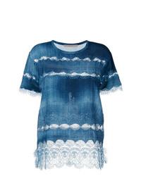T-shirt à col rond en dentelle bleu Ermanno Scervino